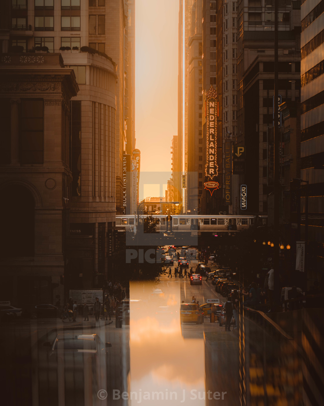 """Chicago Sunset Reflections"" stock image"