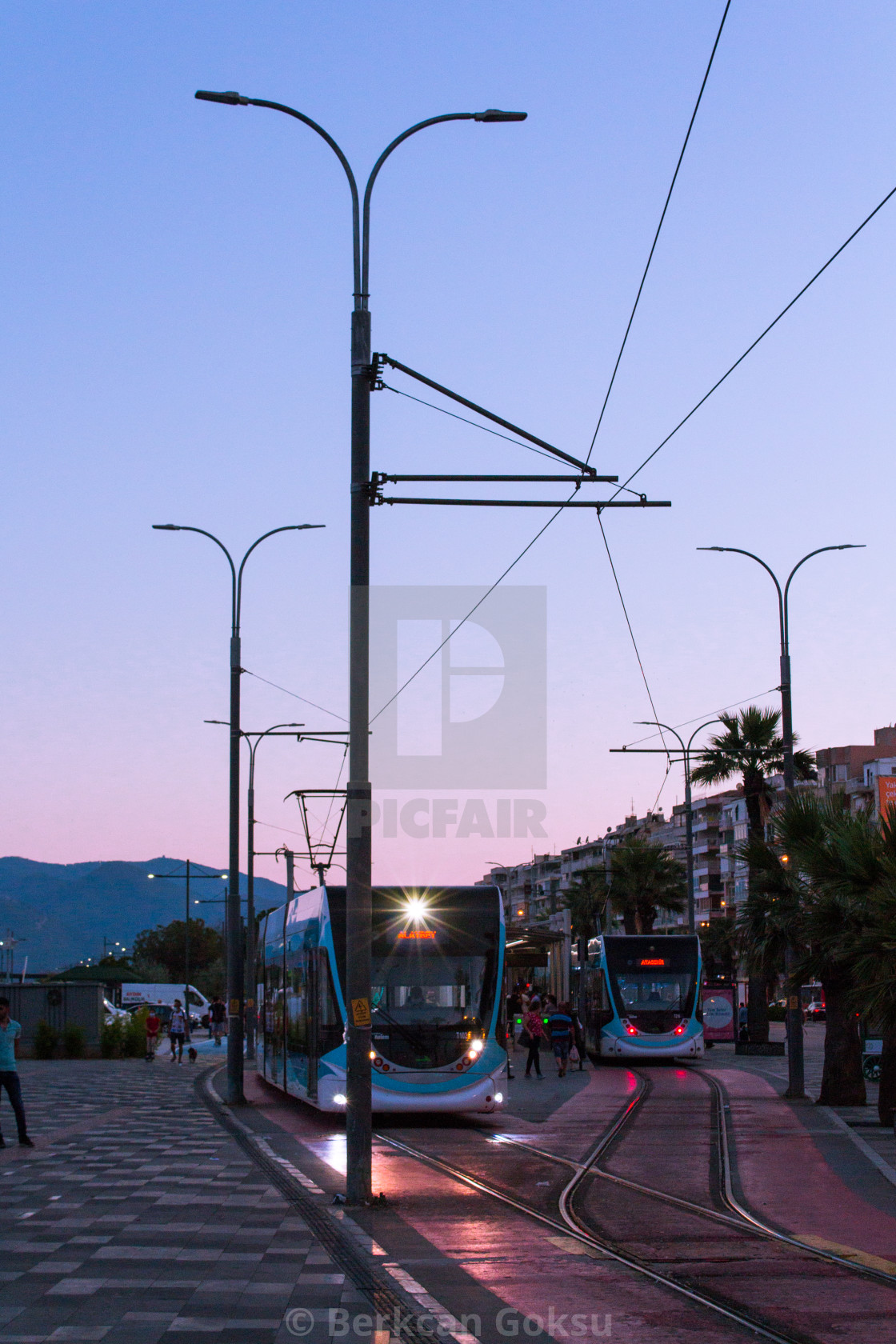 """tram in the city during sunset izmir turkey"" stock image"