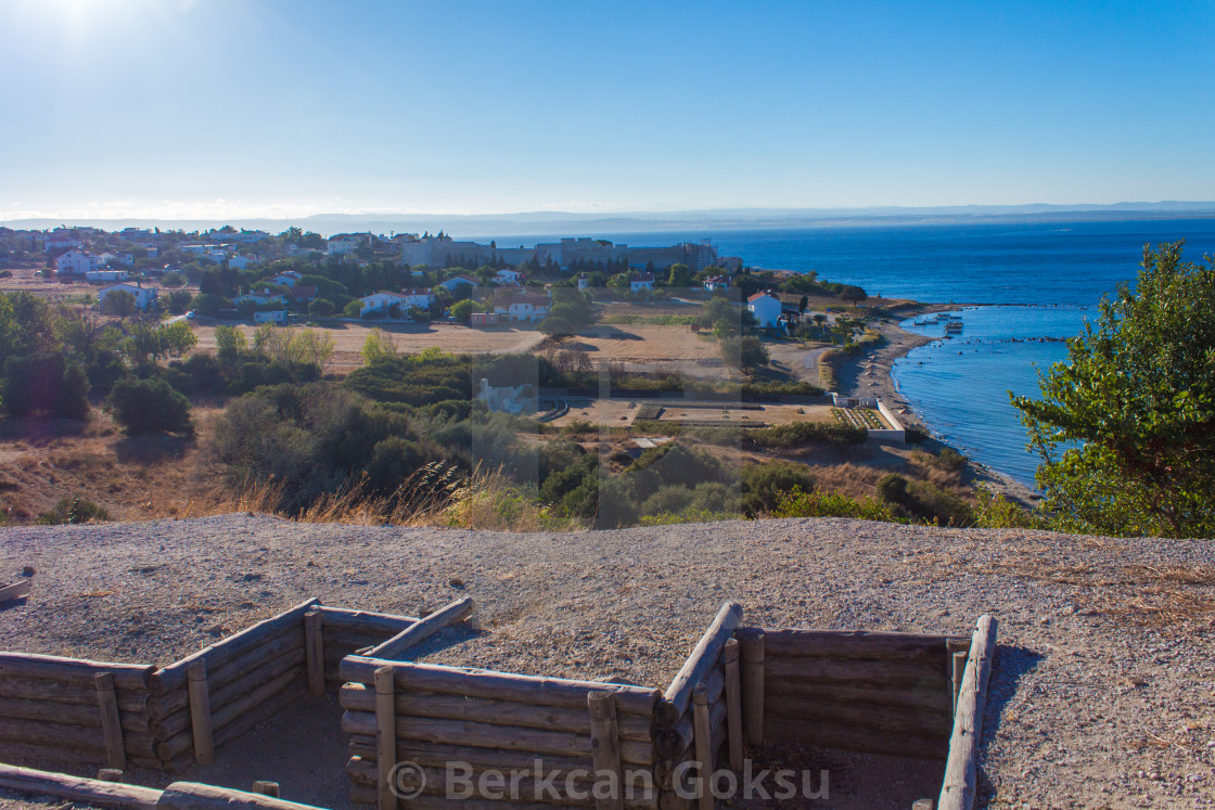 """""""view from the top of the hill trenches to the beach"""" stock image"""