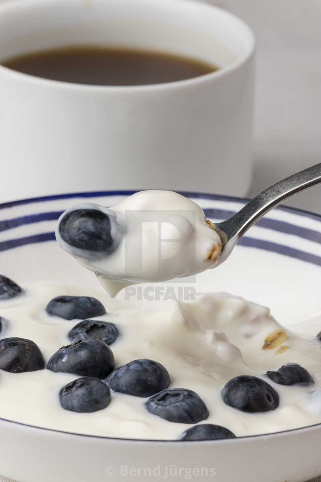 """""""blueberries on yoghurt and coffee"""" stock image"""