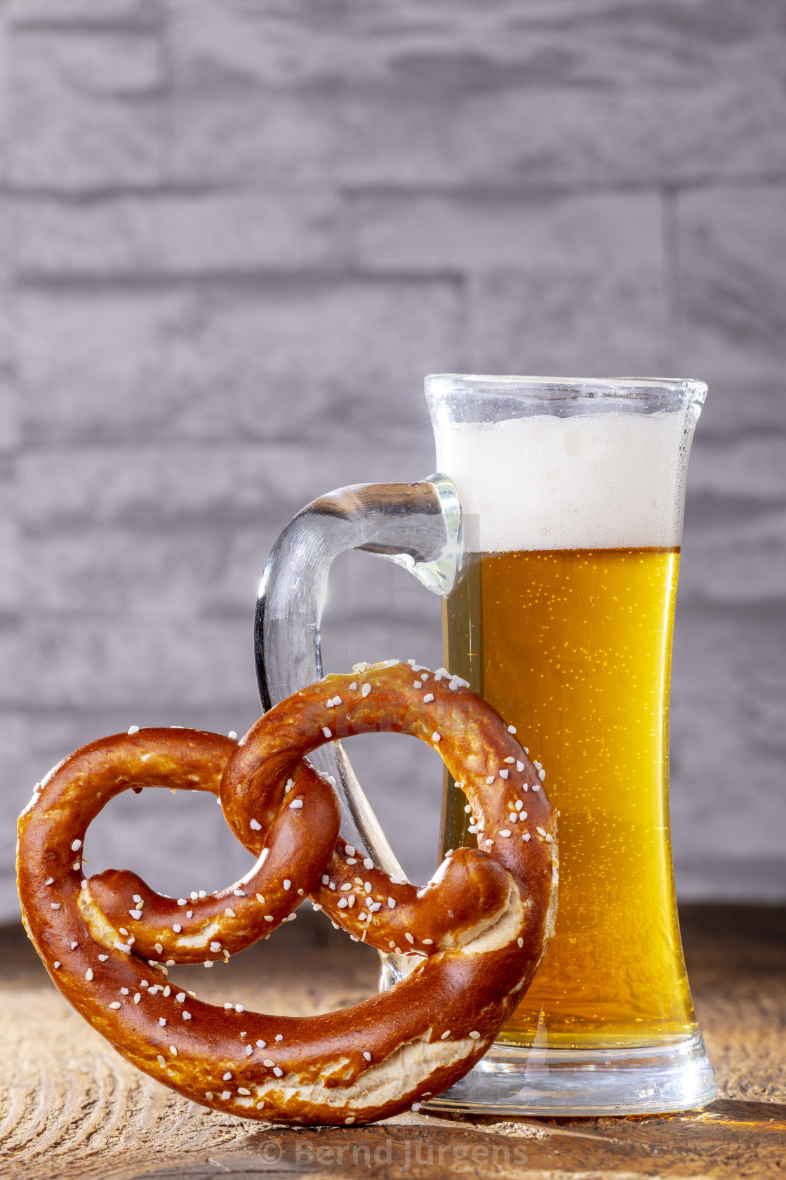 """bavarian beer and a pretzel"" stock image"