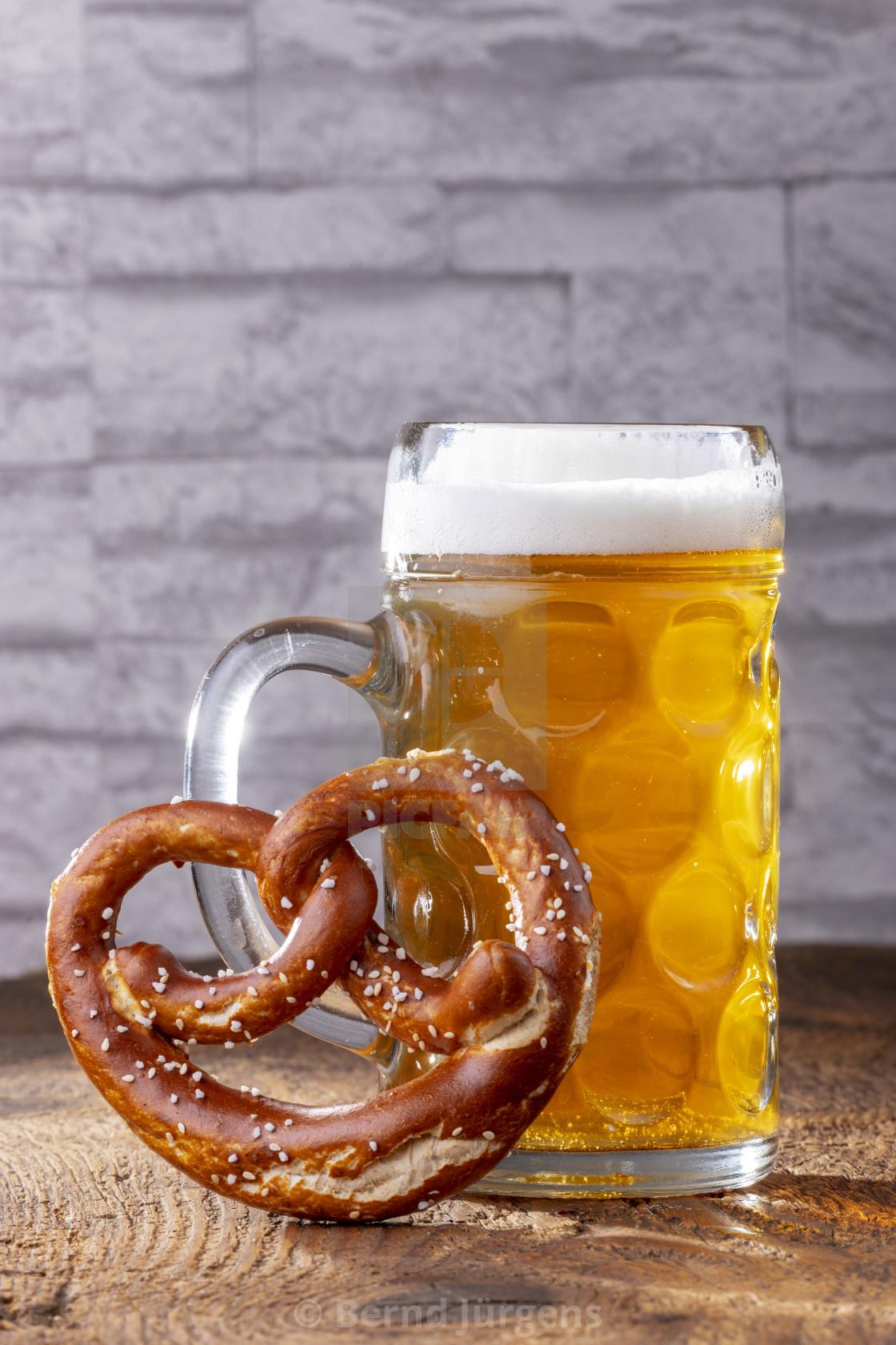 """bavarian beer and a pretzel"" stock image"