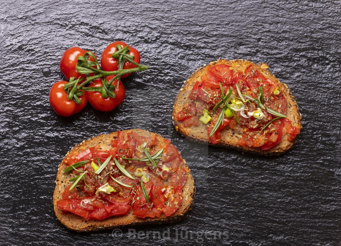 """""""brushetta with tomatoes"""" stock image"""