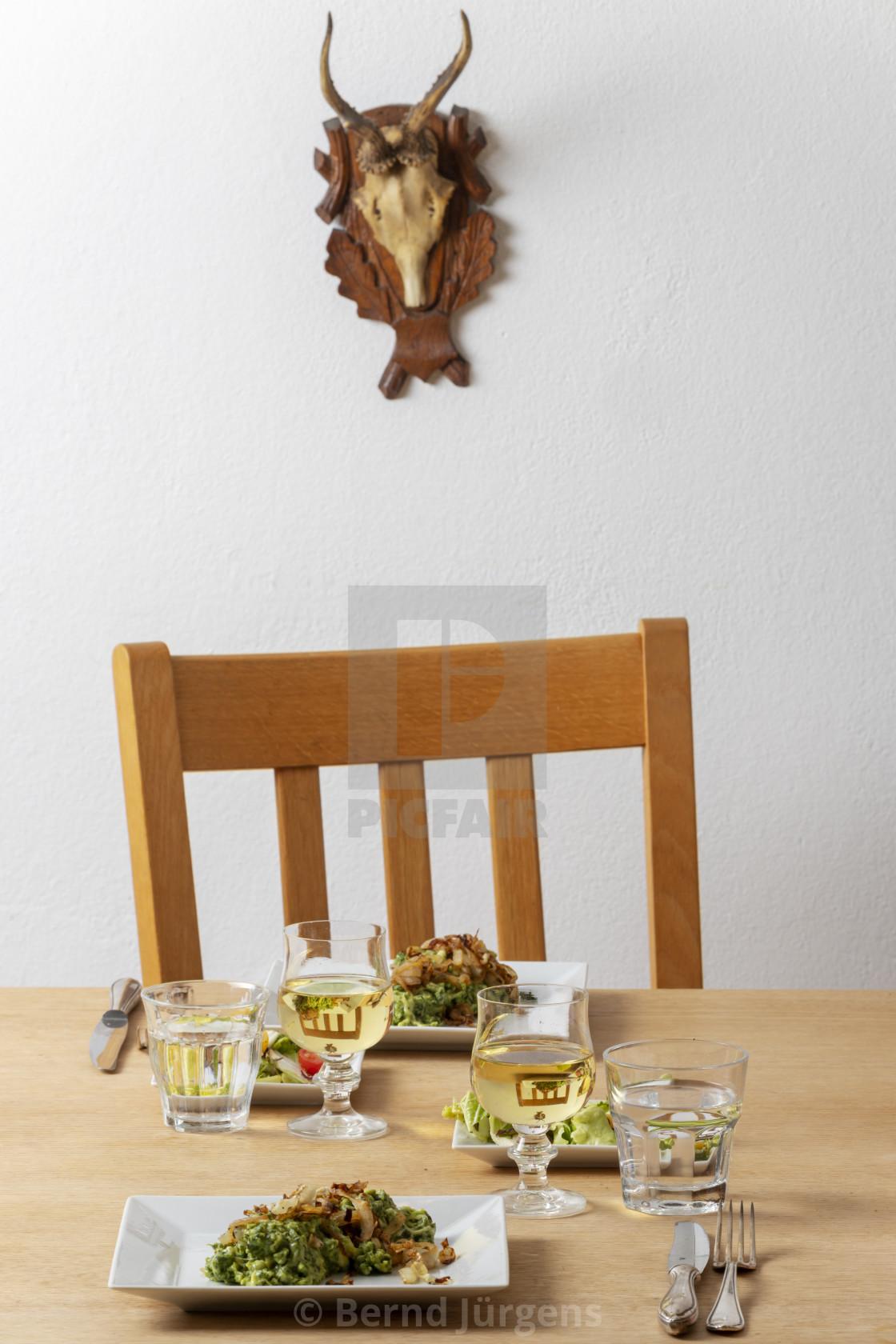 """austrian kaesspaetzle on a table"" stock image"