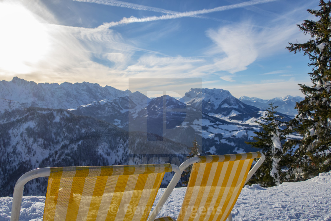 """""""deck chairs in austria in winter"""" stock image"""