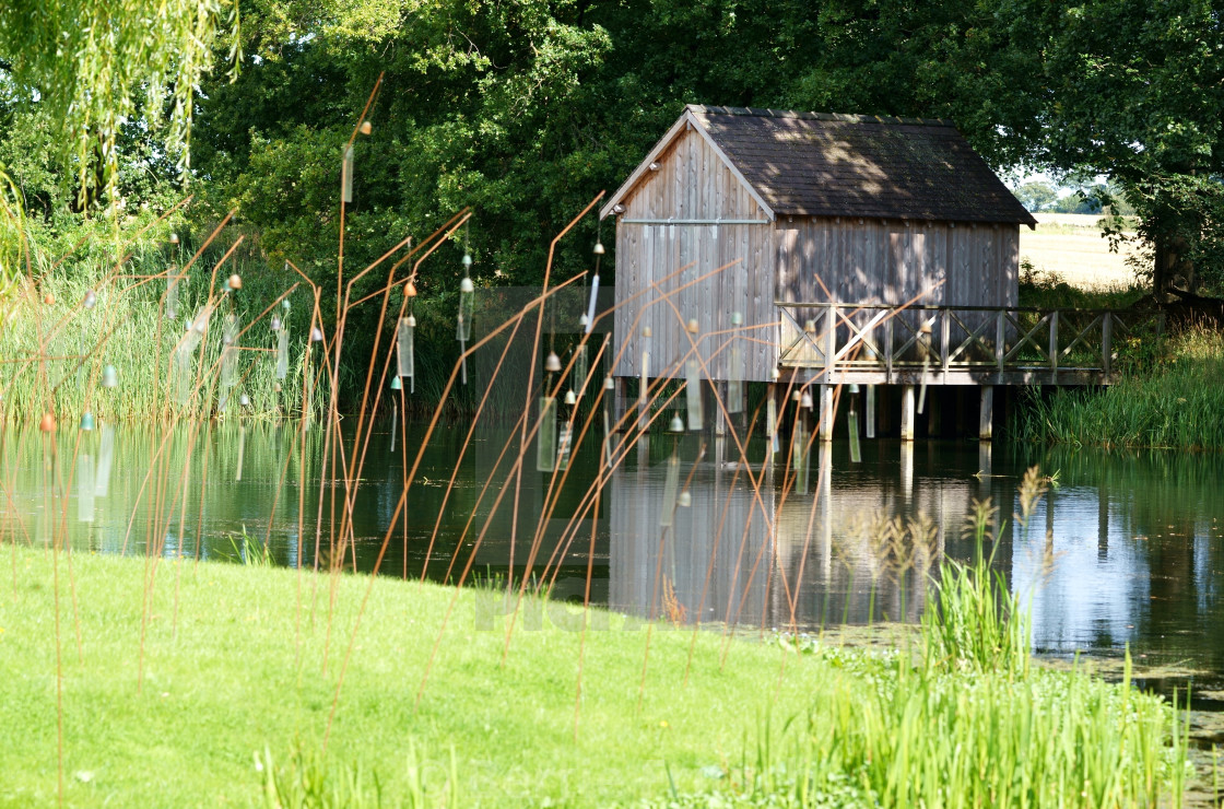 """""""Boat House by pond"""" stock image"""