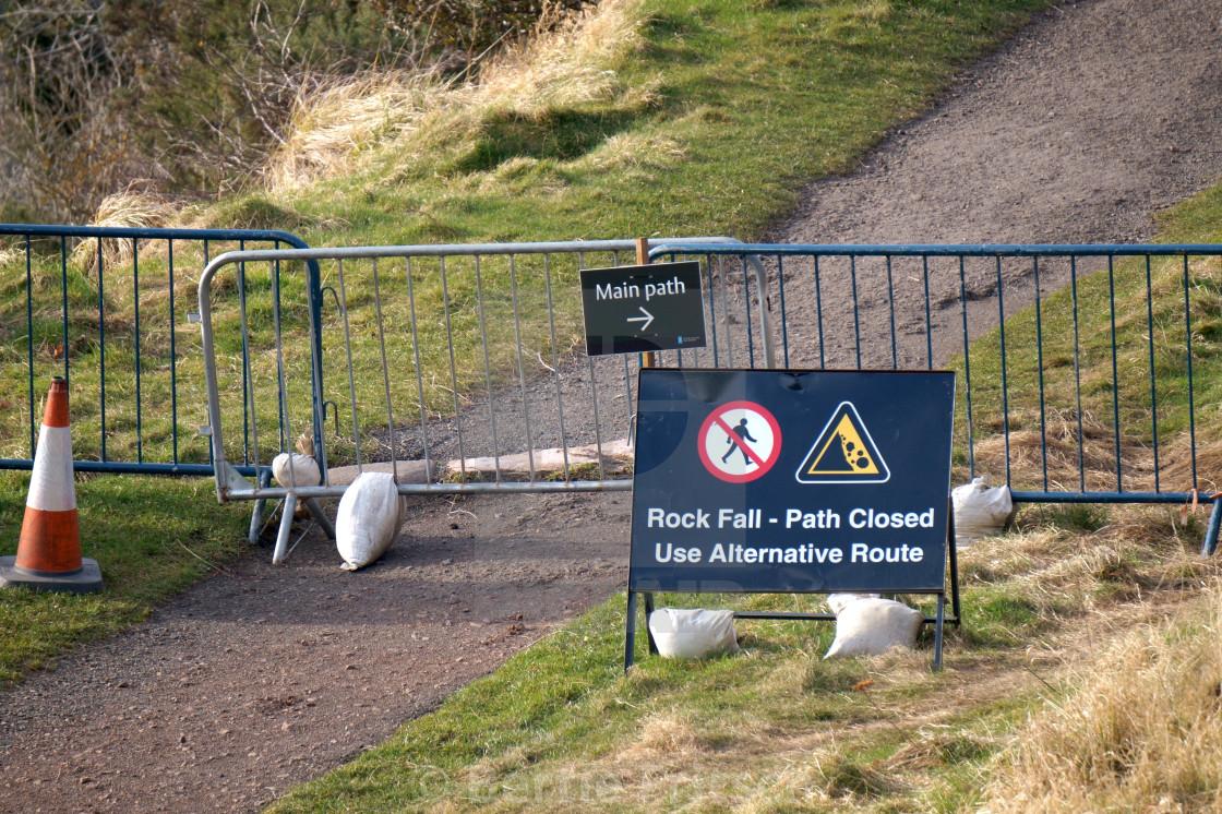 """Rock Fall Warning Diversion"" stock image"