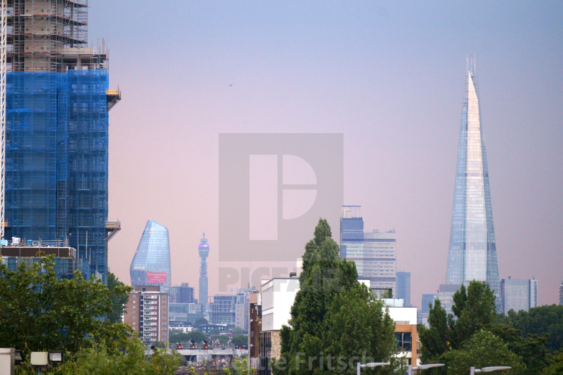 """The Shard & BT Tower London Skyline"" stock image"