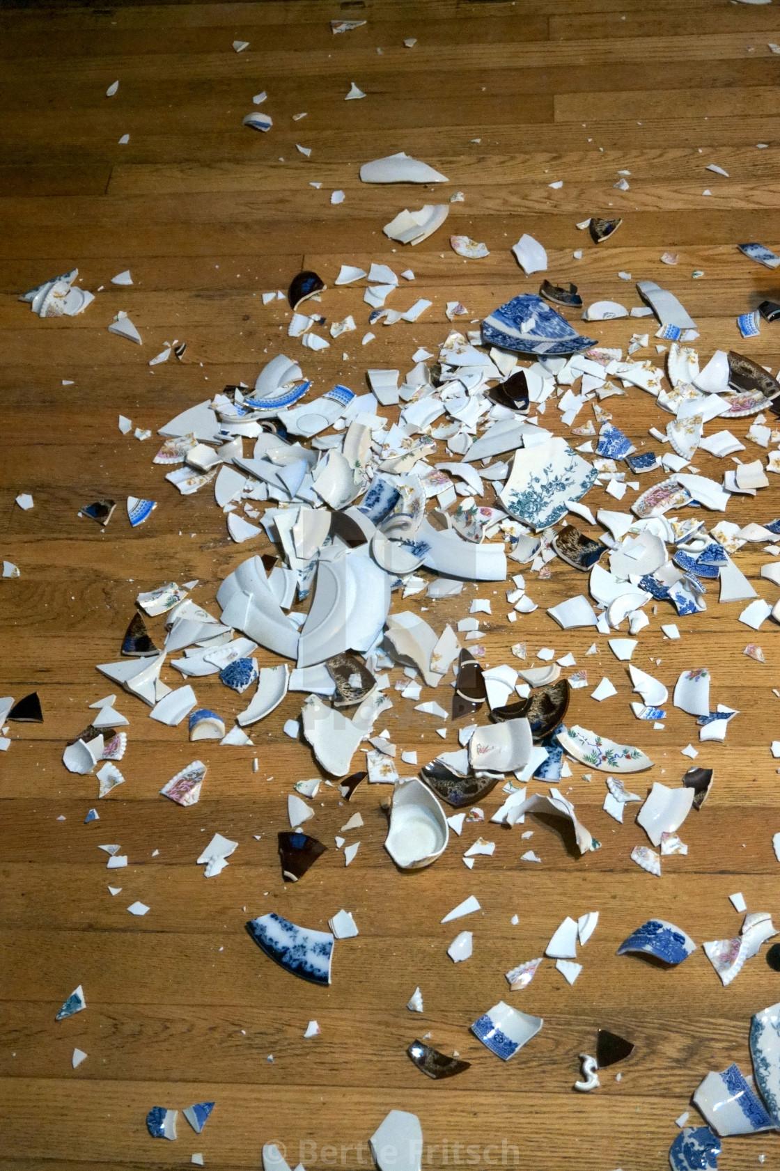 """""""Smashed china crockery"""" stock image"""