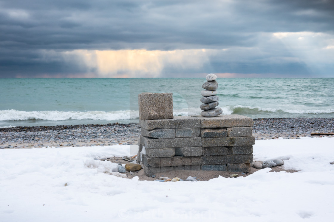 """Stacked Rocks And Dramatic Skies in Pickering, Ontario"" stock image"