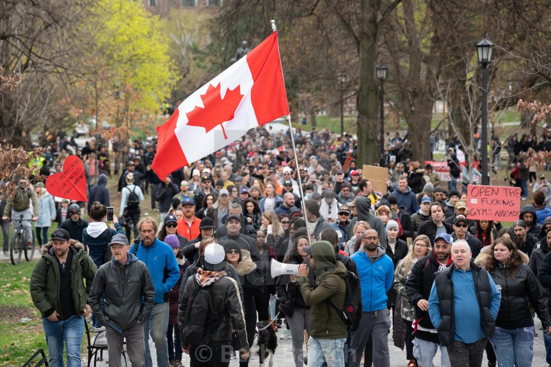 """Anti-Lockdown Protesters March in Toronto, Ontario"" stock image"
