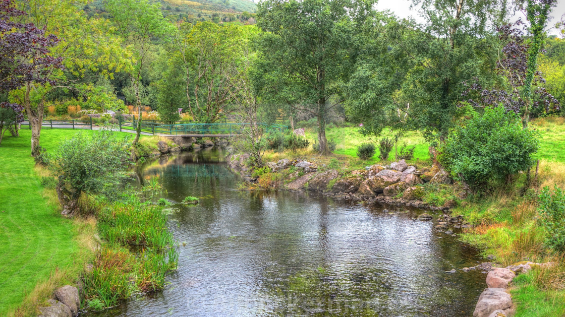 """Stream at Blarney Castle Gardens, Ireland"" stock image"