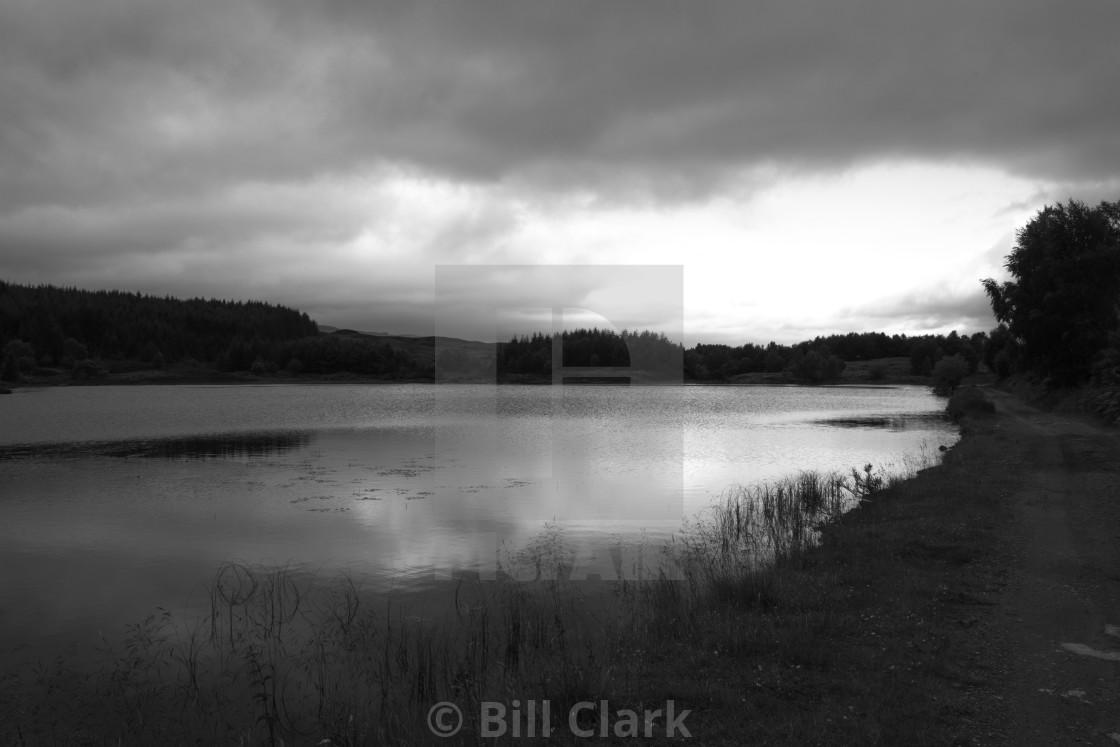 """""""Sunset over Loch, Dunkeld"""" stock image"""