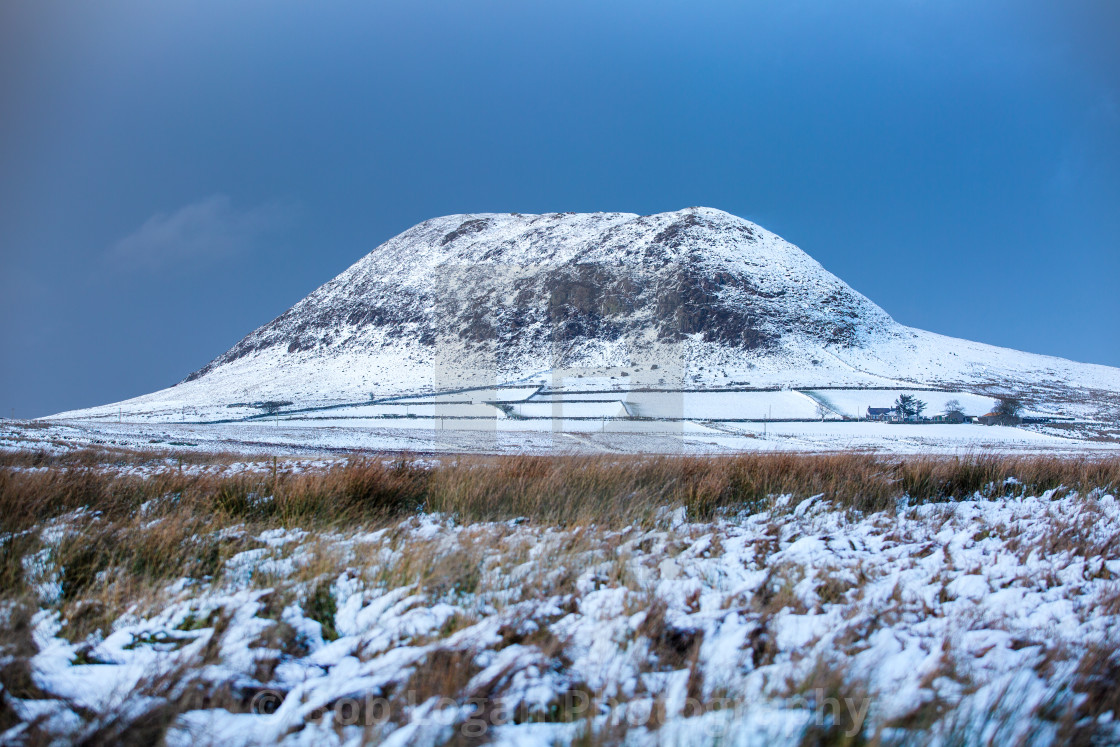 """Slemish in Snow"" stock image"