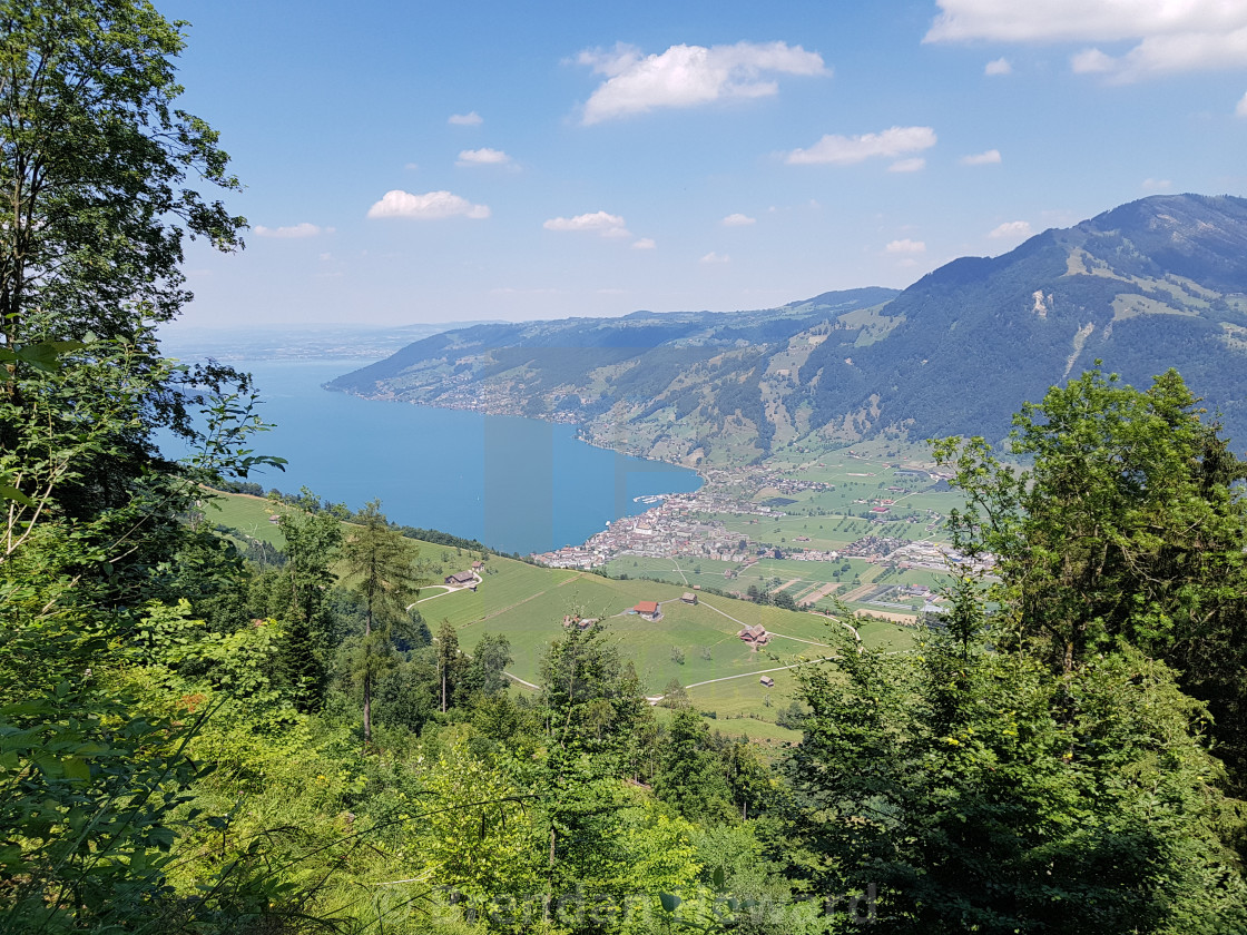 """""""Swiss Mountain Landscape and Zugersee"""" stock image"""