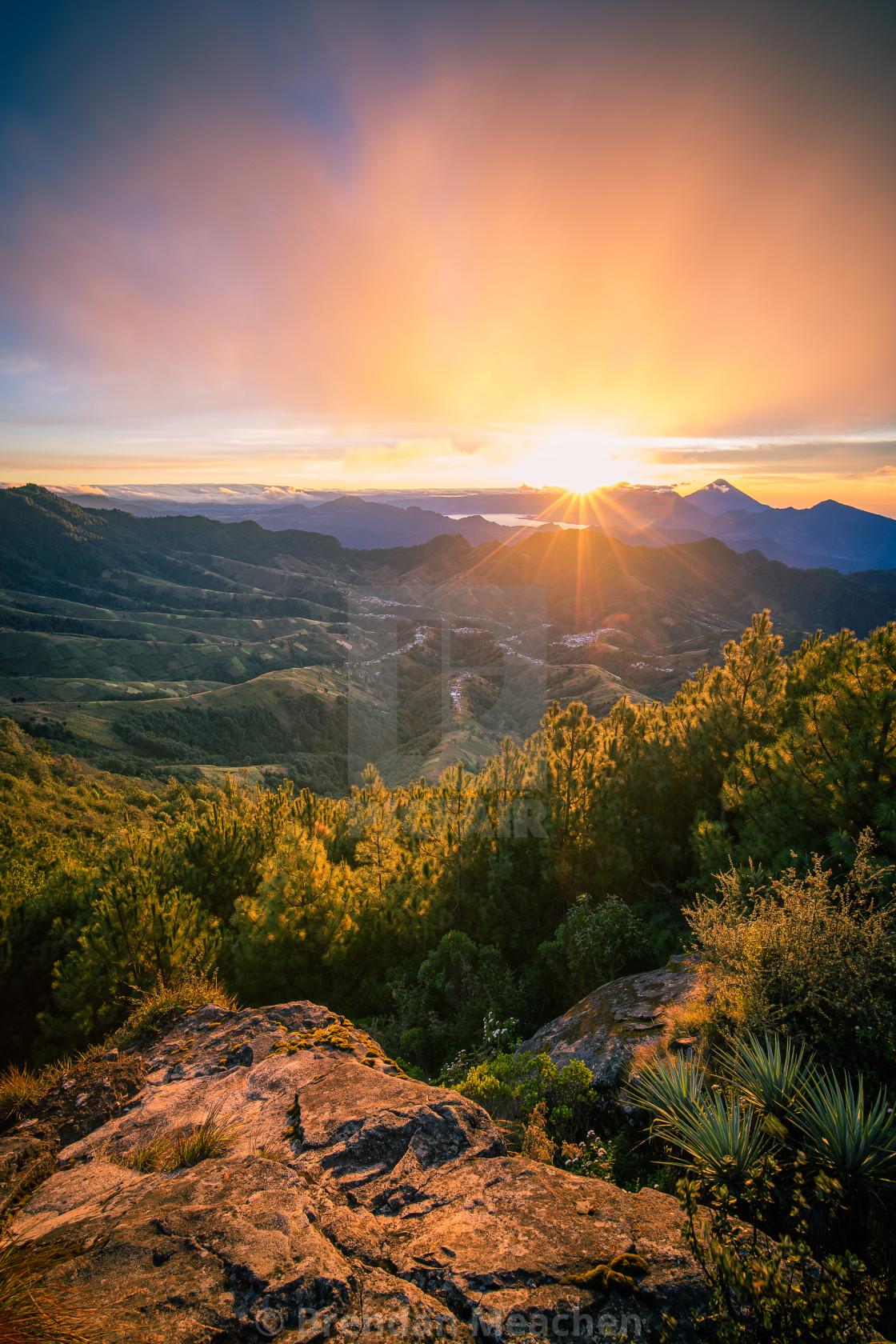 """""""Sunrise from Zunil Ridge"""" stock image"""