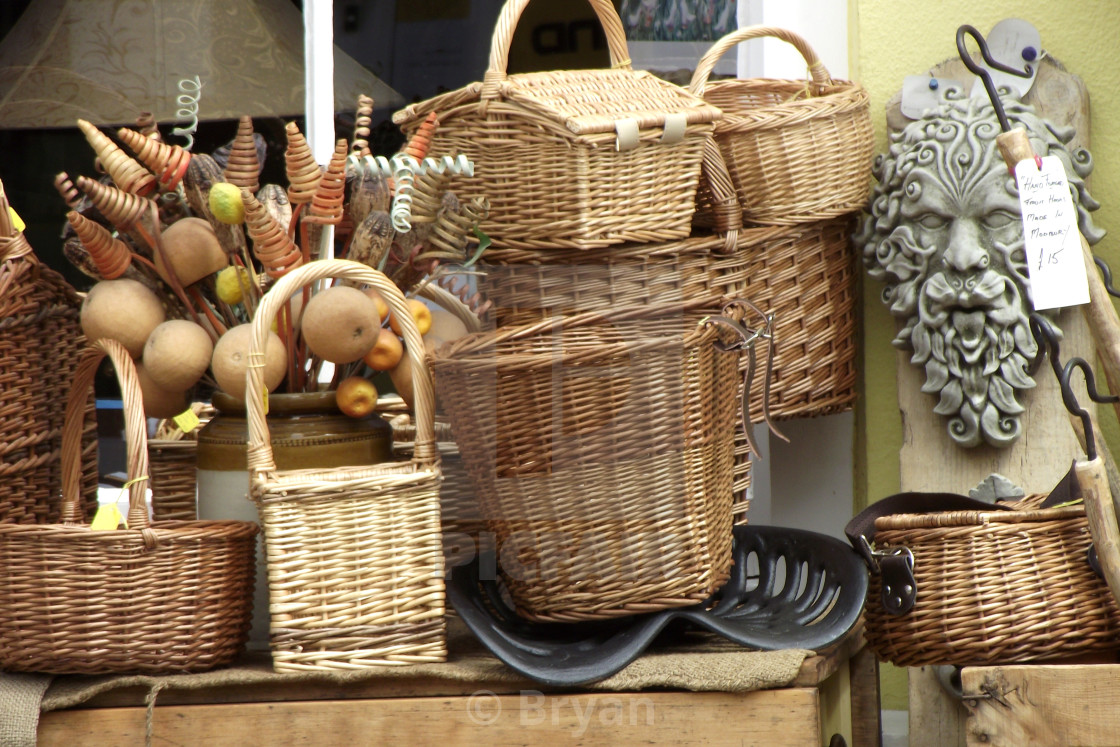 """""""Baskets, wicker and woven"""" stock image"""