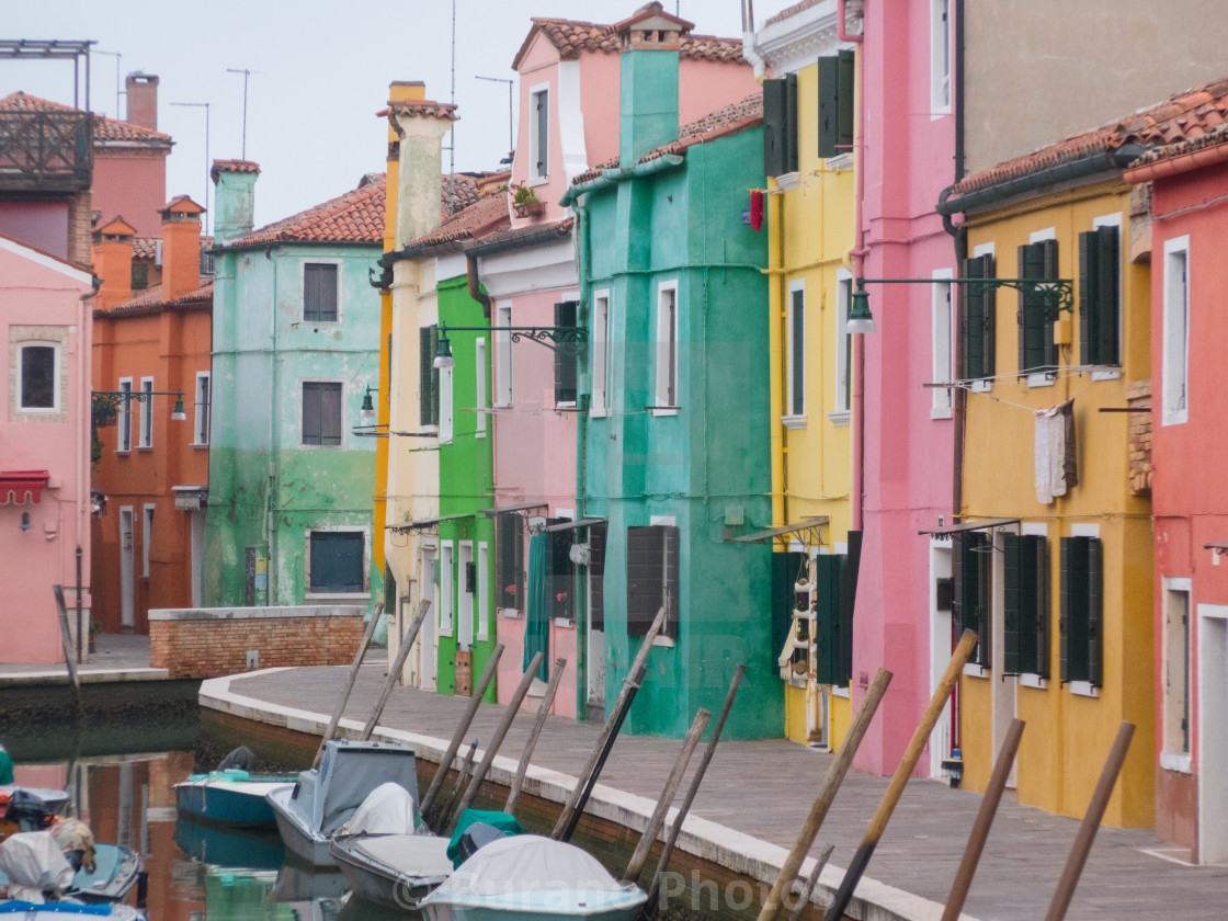 """Zoom on a Burano colorful shore"" stock image"