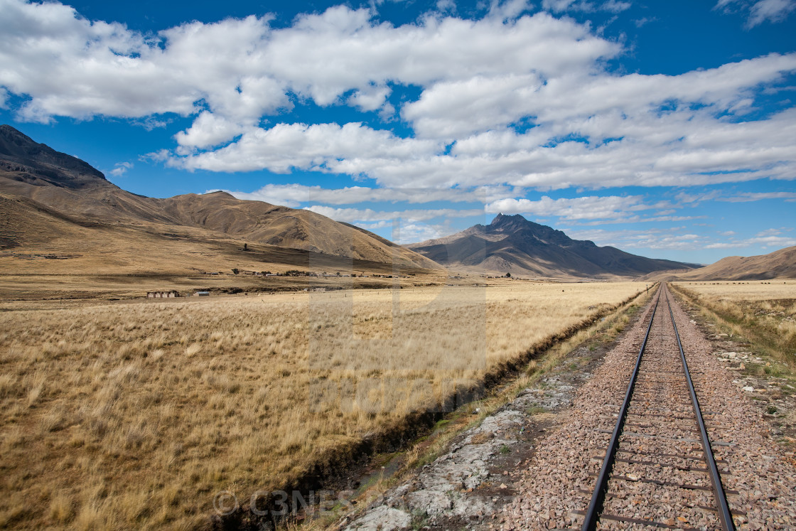 """""""Railway track in the Andes"""" stock image"""