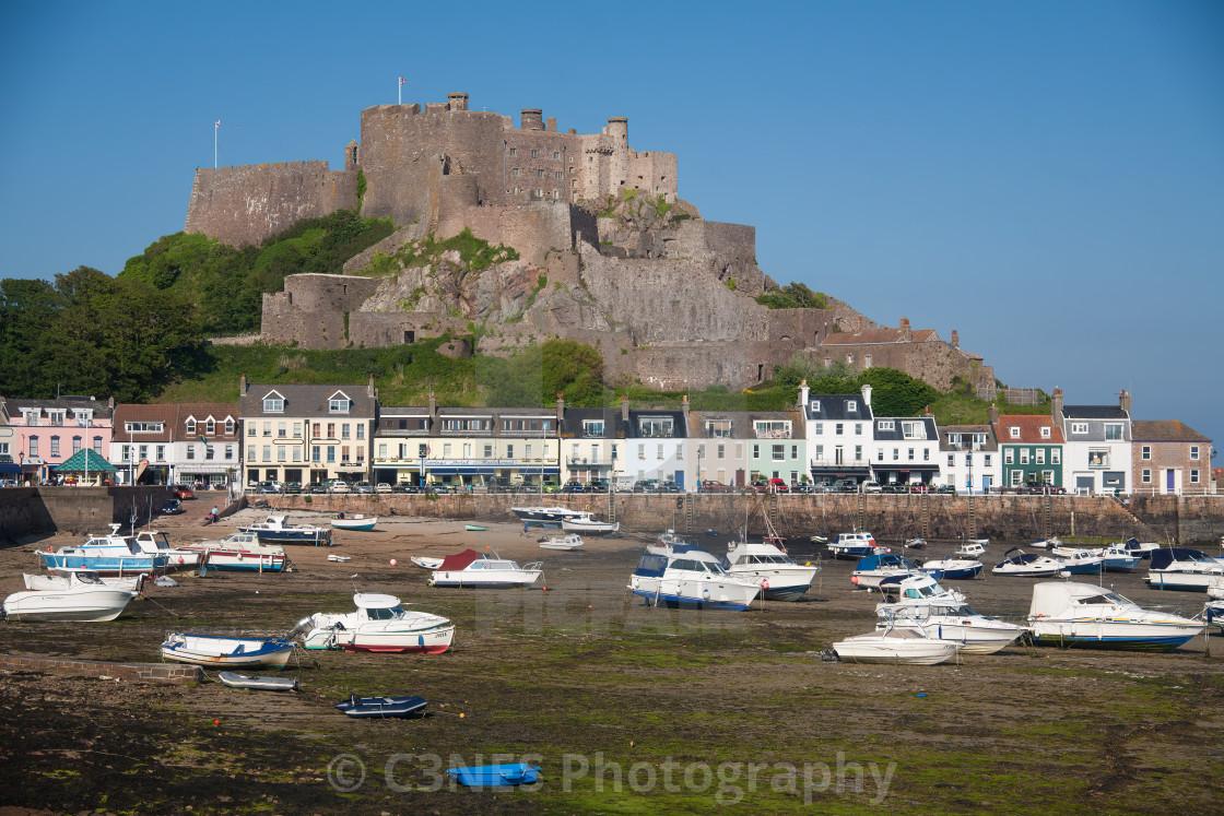 """""""Gorey Pier and Mont Orgueil Castle"""" stock image"""