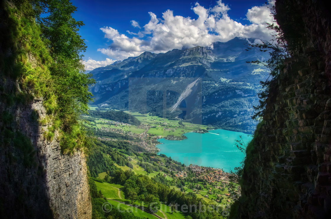"""View of Lake Brienz in the Swiss Alps"" stock image"