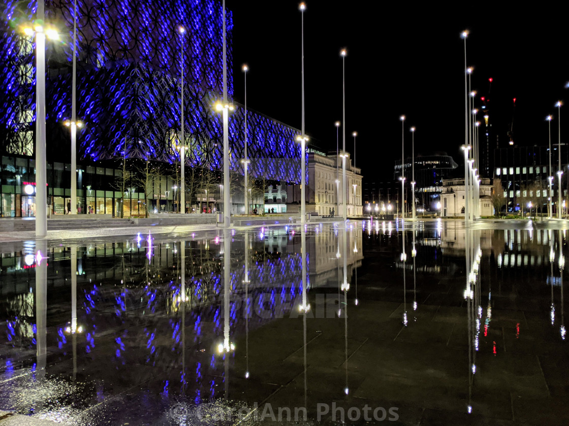 """Birmingham fountain reflections"" stock image"
