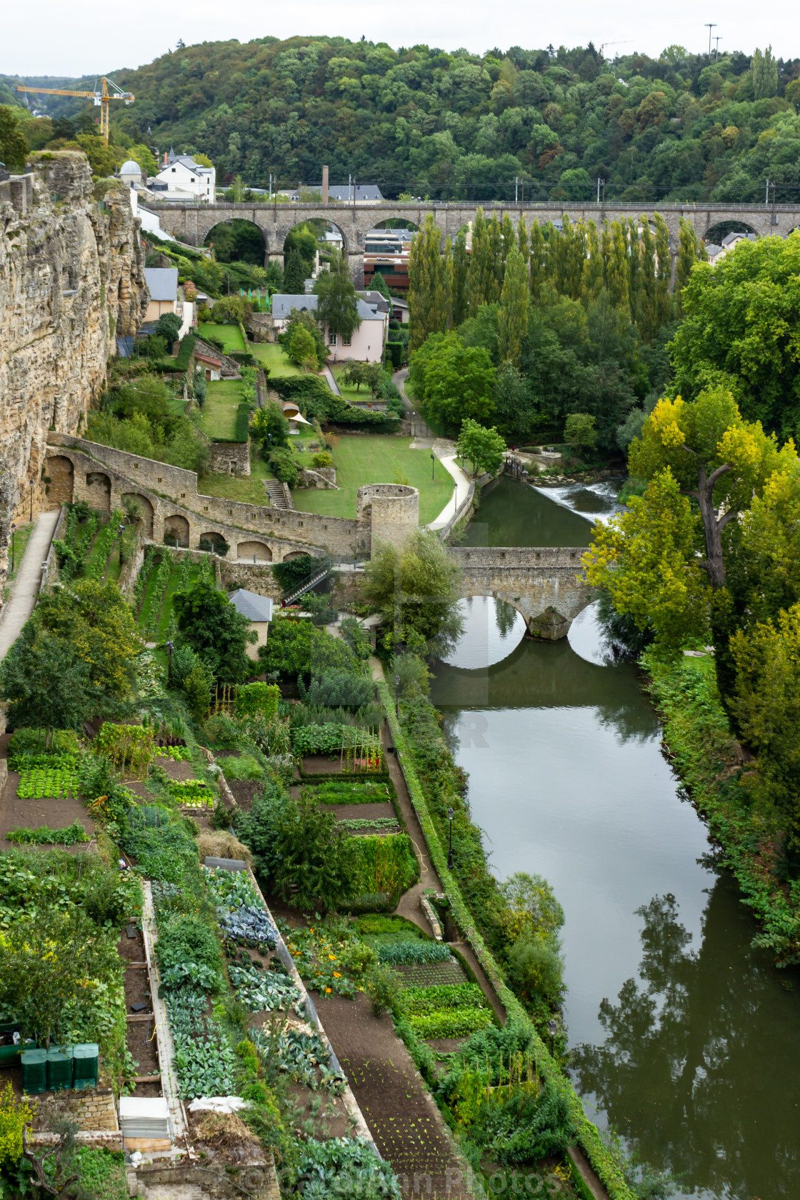"""""""Luxembourg from the City Walls"""" stock image"""