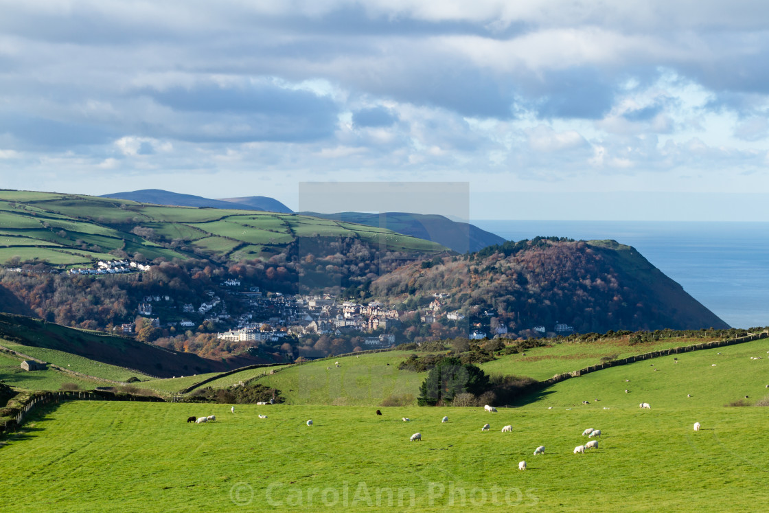"""""""Exmoor countryside - Countisbury, Lynmouth and Lynton"""" stock image"""