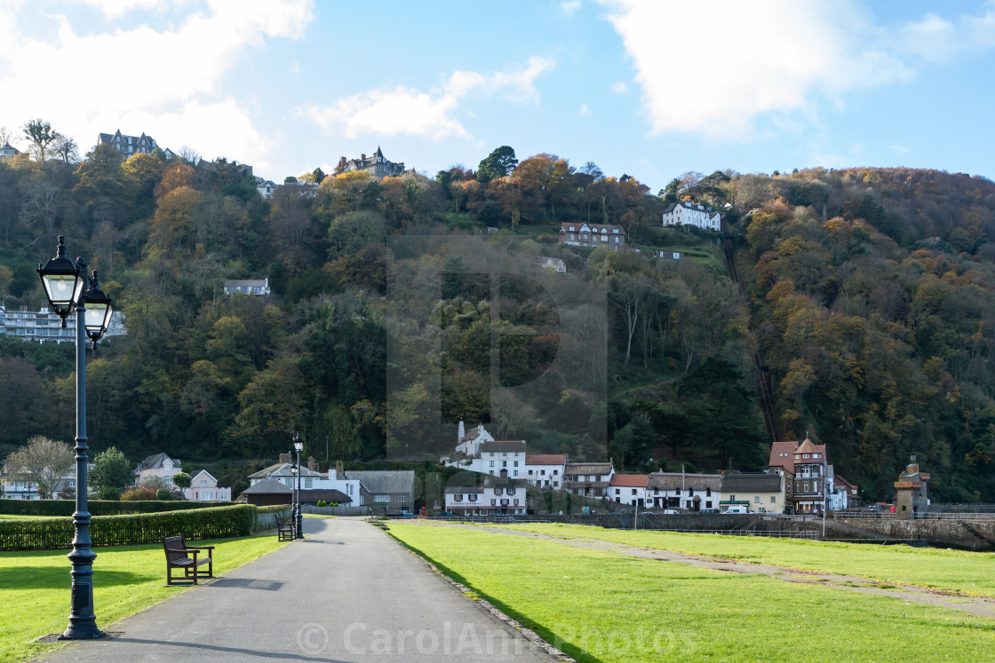 """""""Lynmouth and Lynton from the park"""" stock image"""