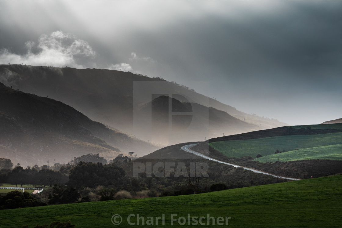 """""""Valleys and Sun Rays"""" stock image"""