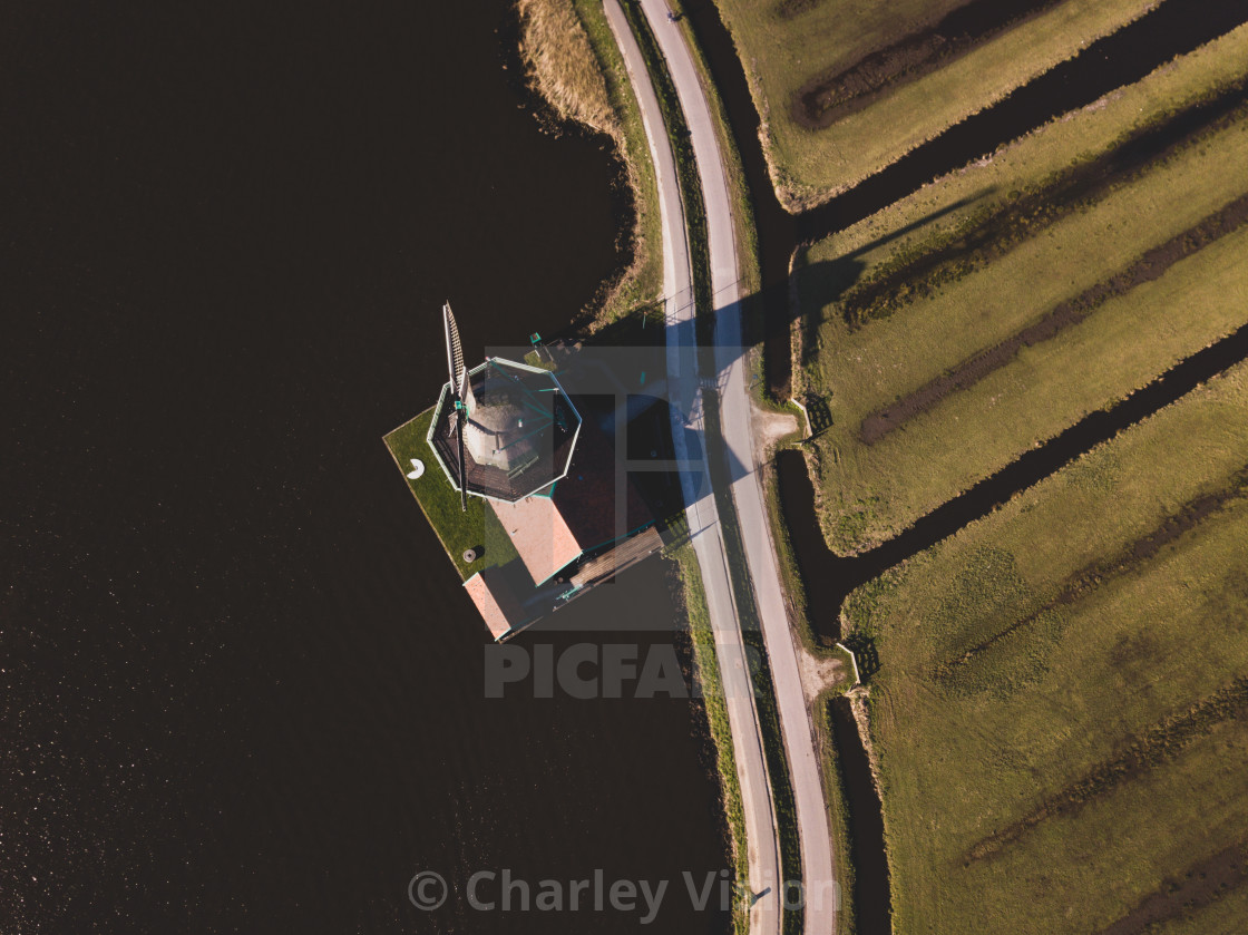 Flying over Zaanse Schans windmills
