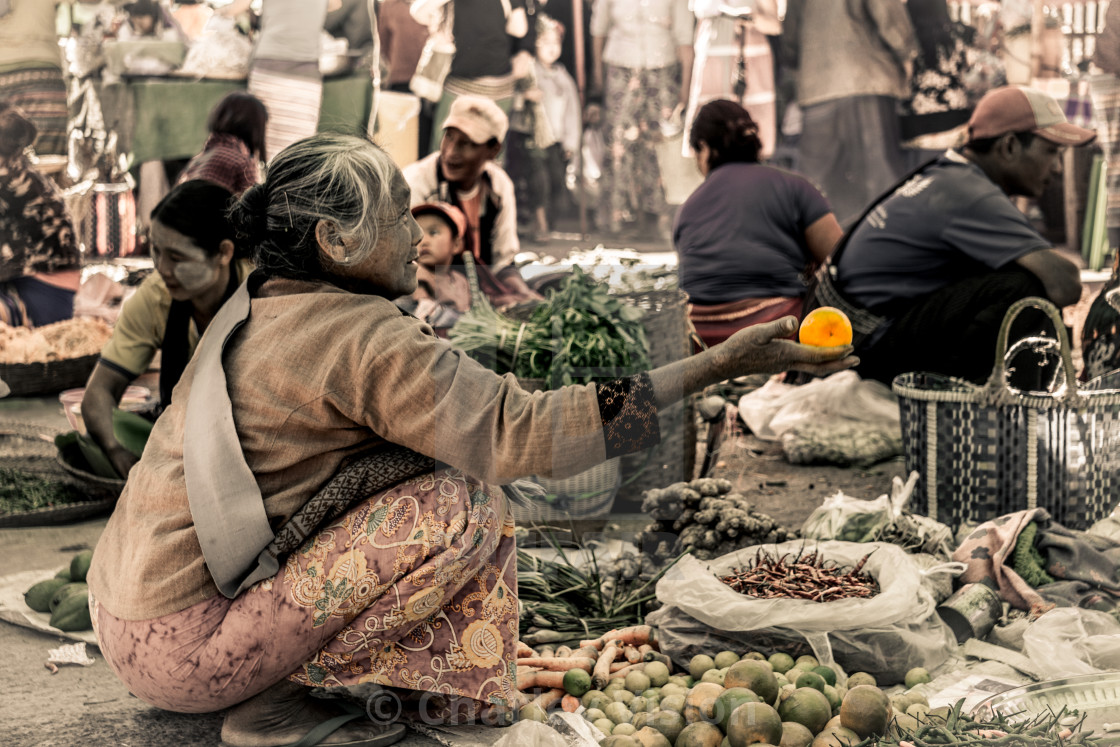 """Faces of Myanmar - Market of Kalaw"" stock image"