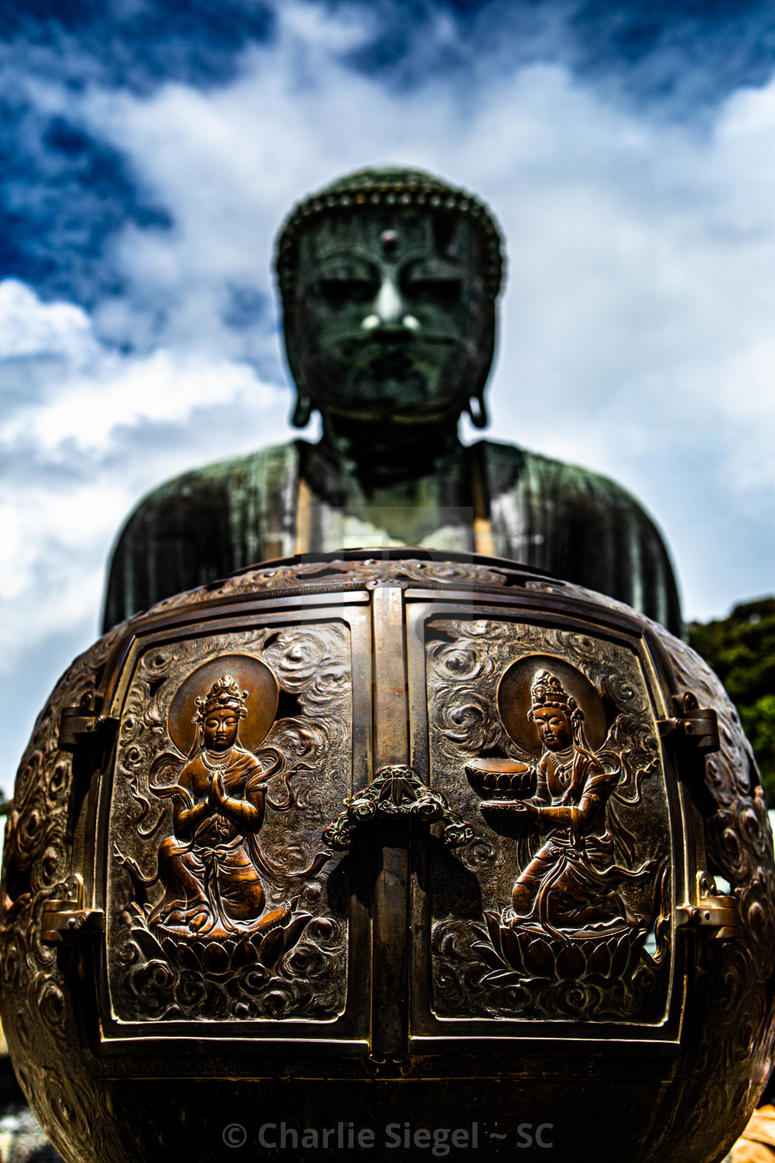 """Incense Burner in Front of the Great Buddha of Kamakura Japan"" stock image"