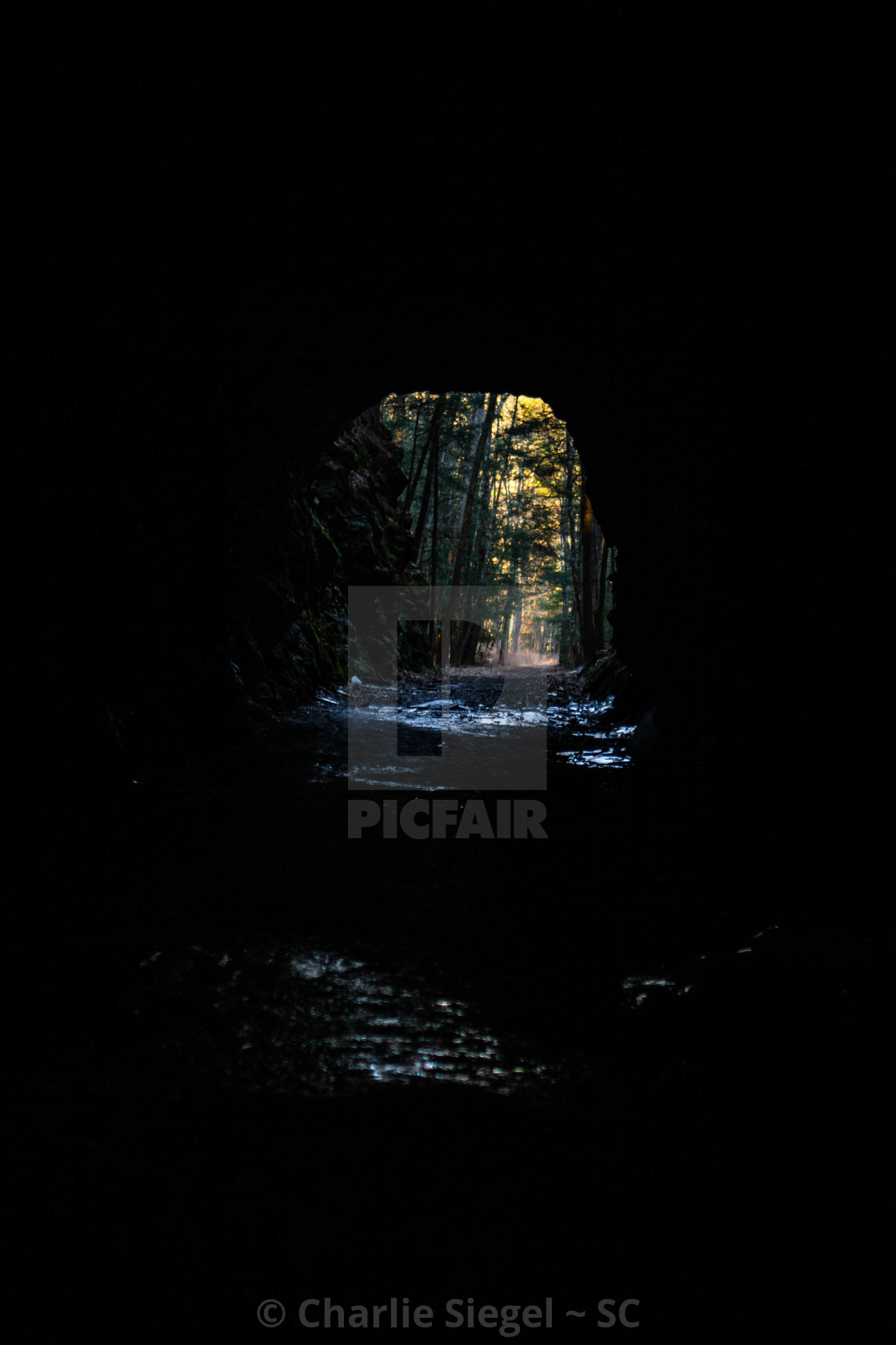 """Light at the End of the Tunnel hiking path"" stock image"