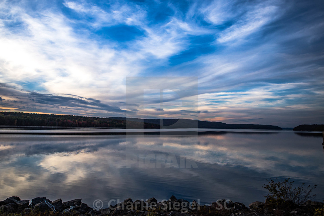 """Sunset Reflection in Quabbin Reservoir in Massachusetts, USA"" stock image"