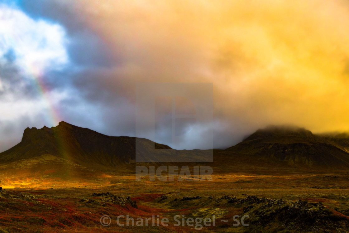 """Rainbows and Volcanoes of Iceland"" stock image"