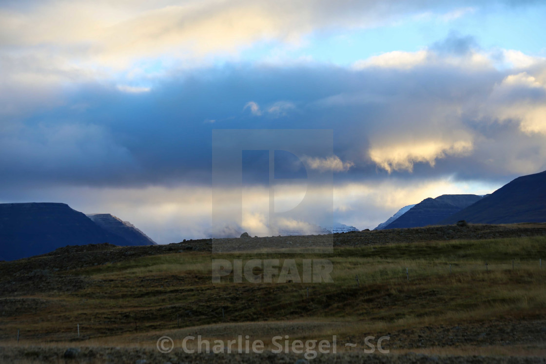 """Sunrise Light in Skagafjordur Iceland"" stock image"
