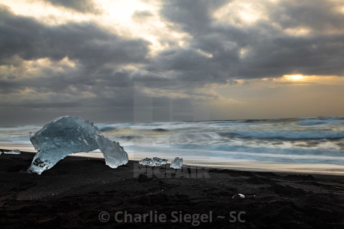 """Diamond Beach Sunrise in Iceland"" stock image"
