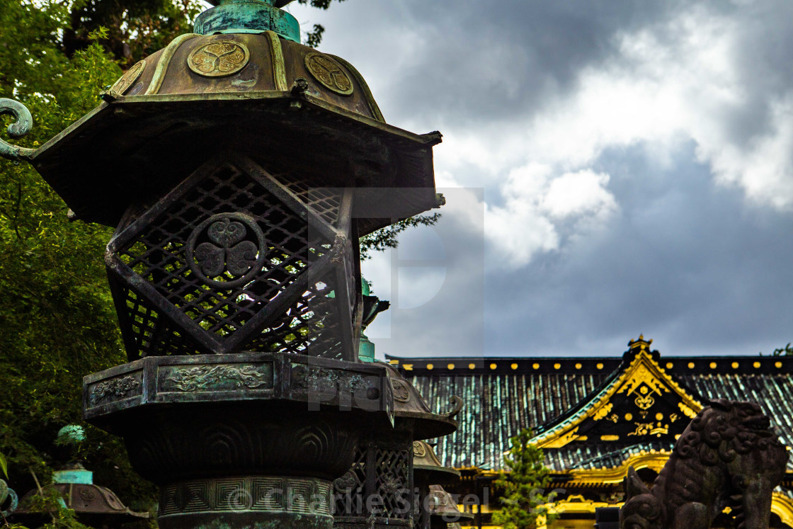 """Bronze Lantern on the Path to Ueno Toshogu"" stock image"