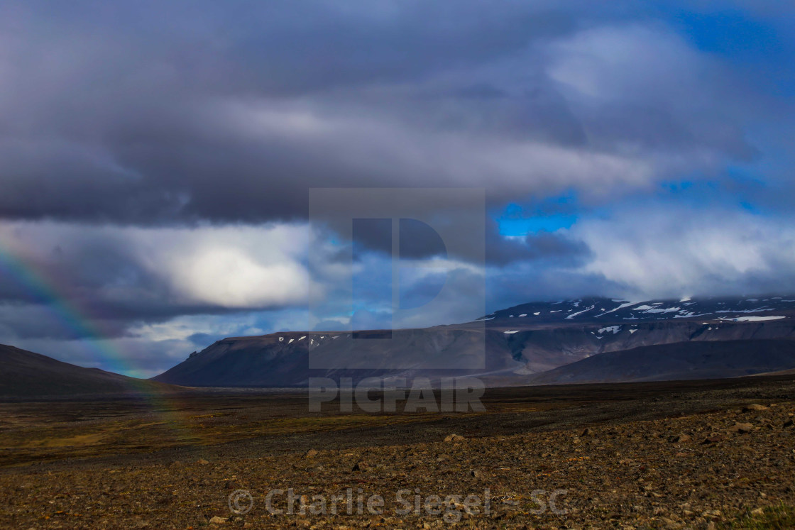 """The End of the Rainbow near Langjokull Glacier, Iceland"" stock image"