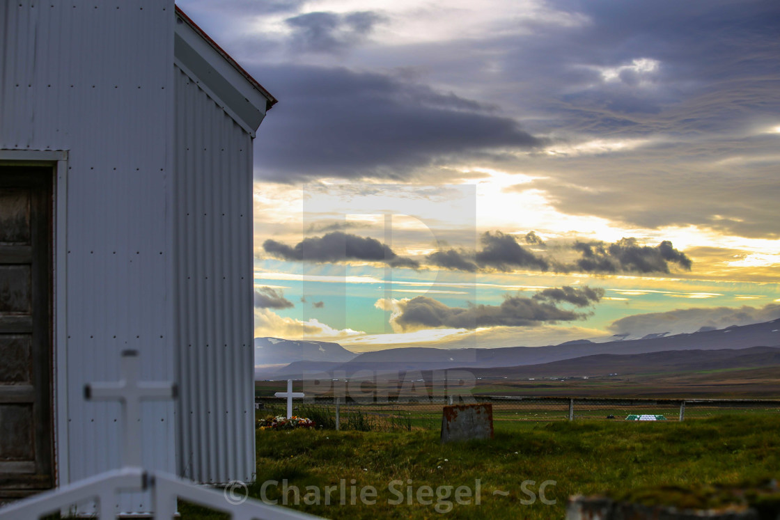 """Icelandic Church and Cemetery"" stock image"
