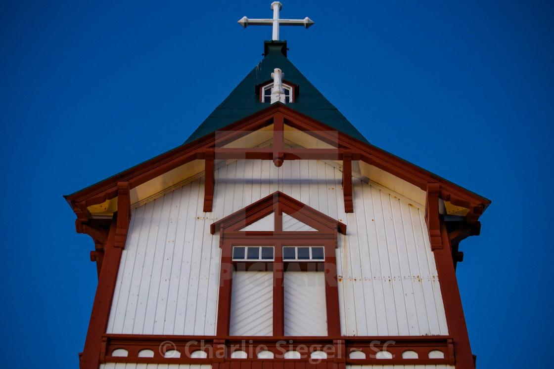 """Husavik Church Steeple, Iceland"" stock image"