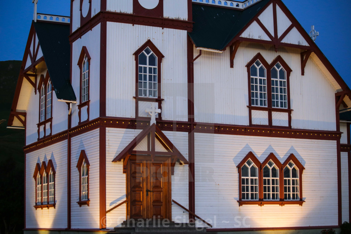 """Husavik Church, Iceland in the evening"" stock image"