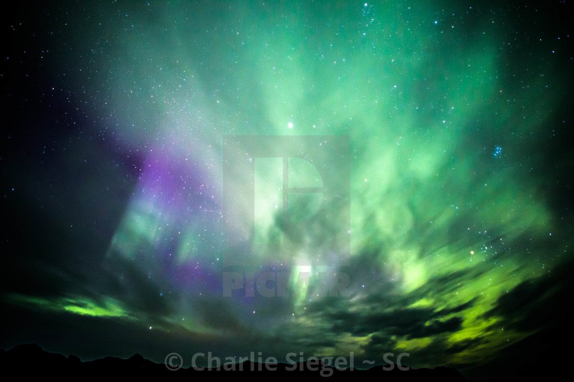 """Northern Lights across the night sky over Snaefellsnes, Iceland"" stock image"