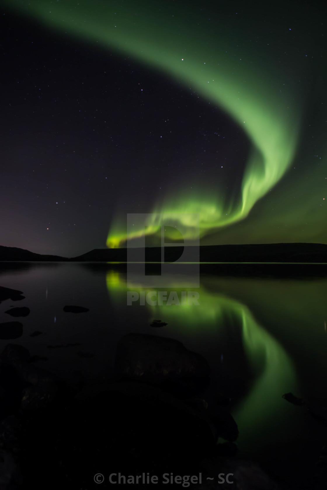 """Northern Lights over Kleifarvatn Lake, Iceland"" stock image"