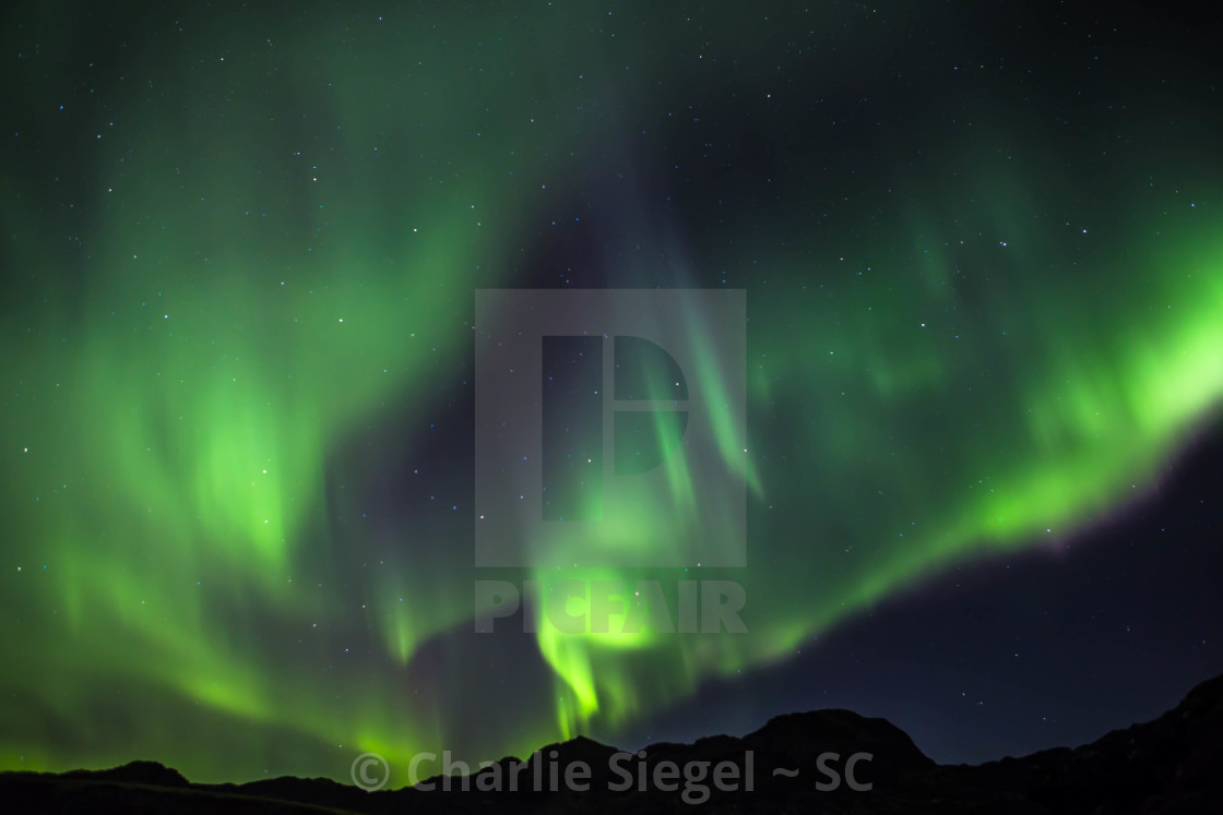 """""""Rippling Northern Lights over Iceland"""" stock image"""