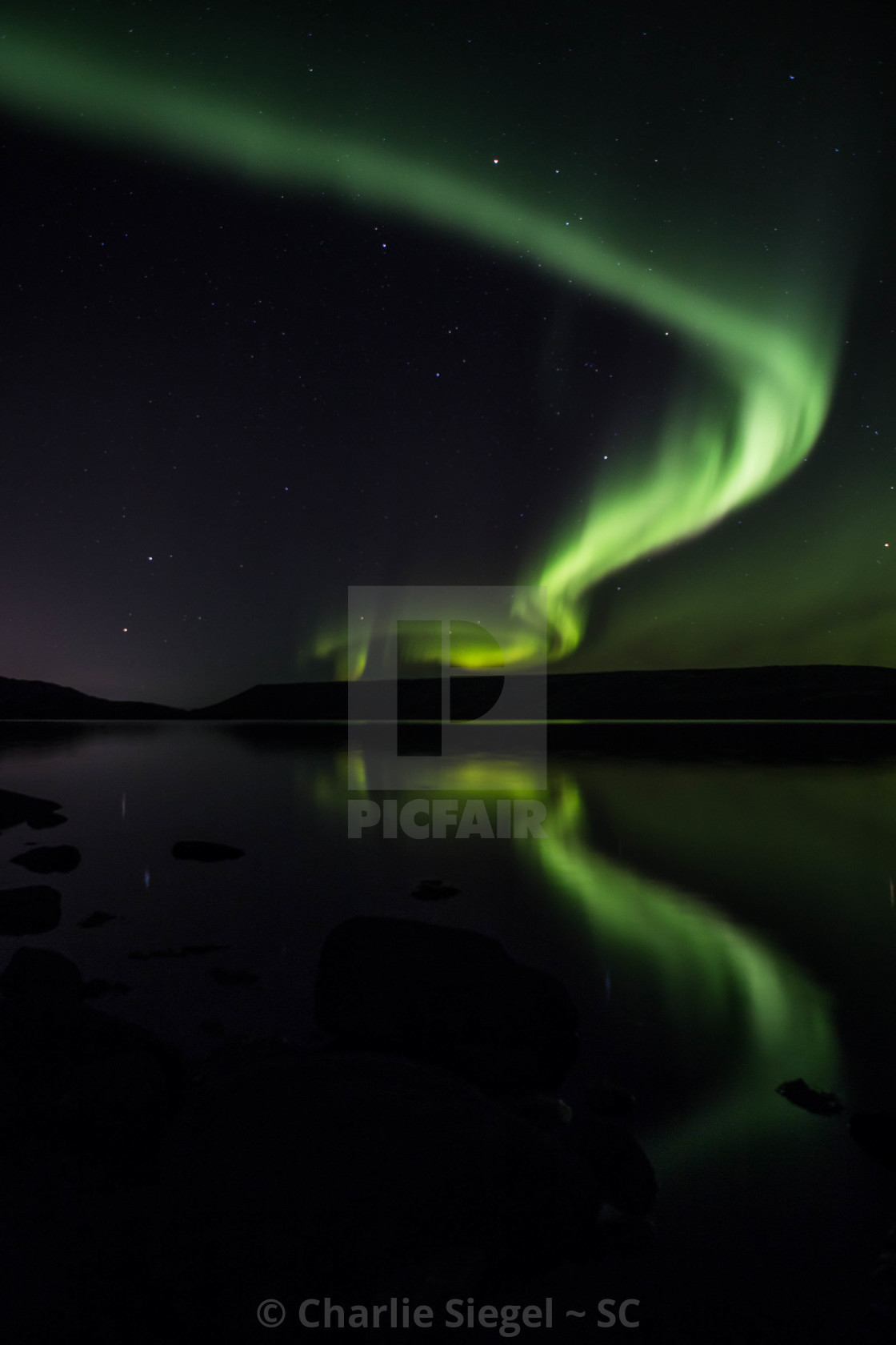 """Northern Lights over Kleifarvatn Lake, Iceland"" stock image"