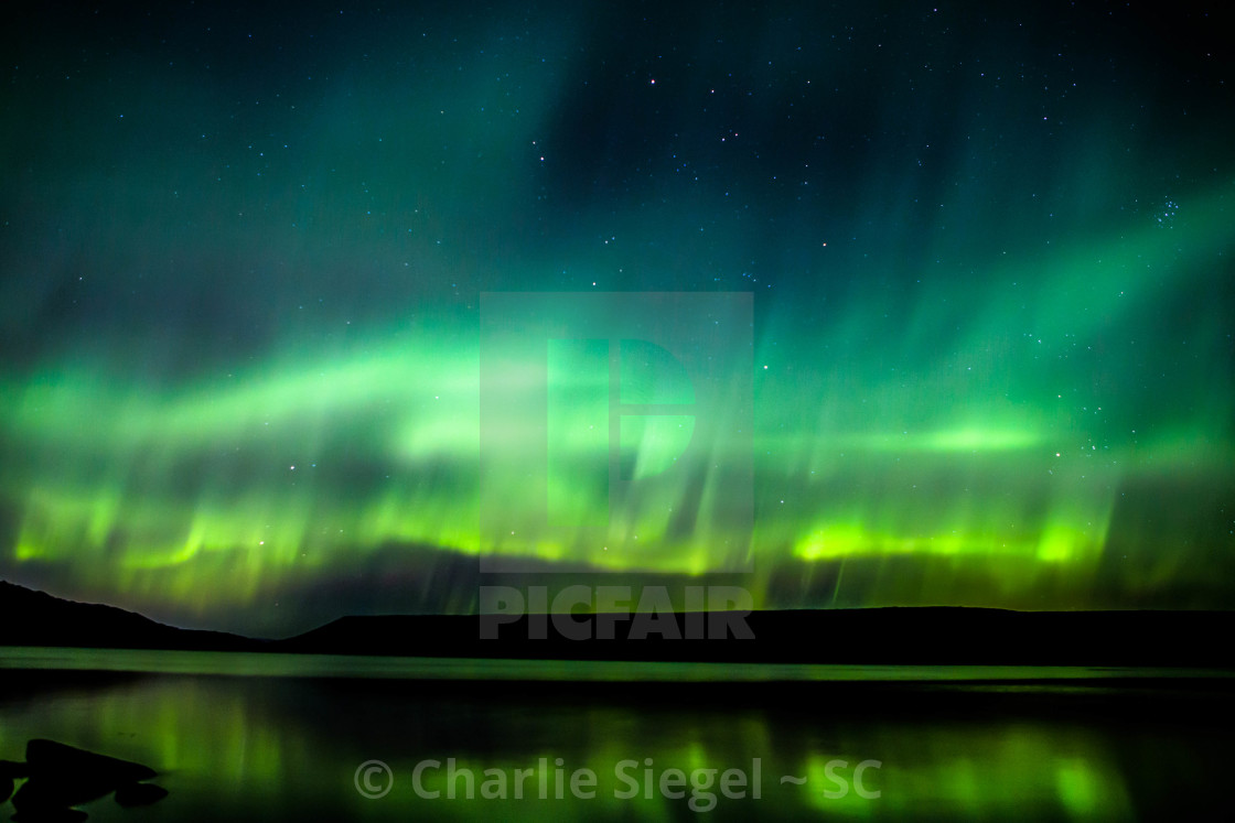"""Northern Lights over Lake Kleifarvatn Iceland"" stock image"