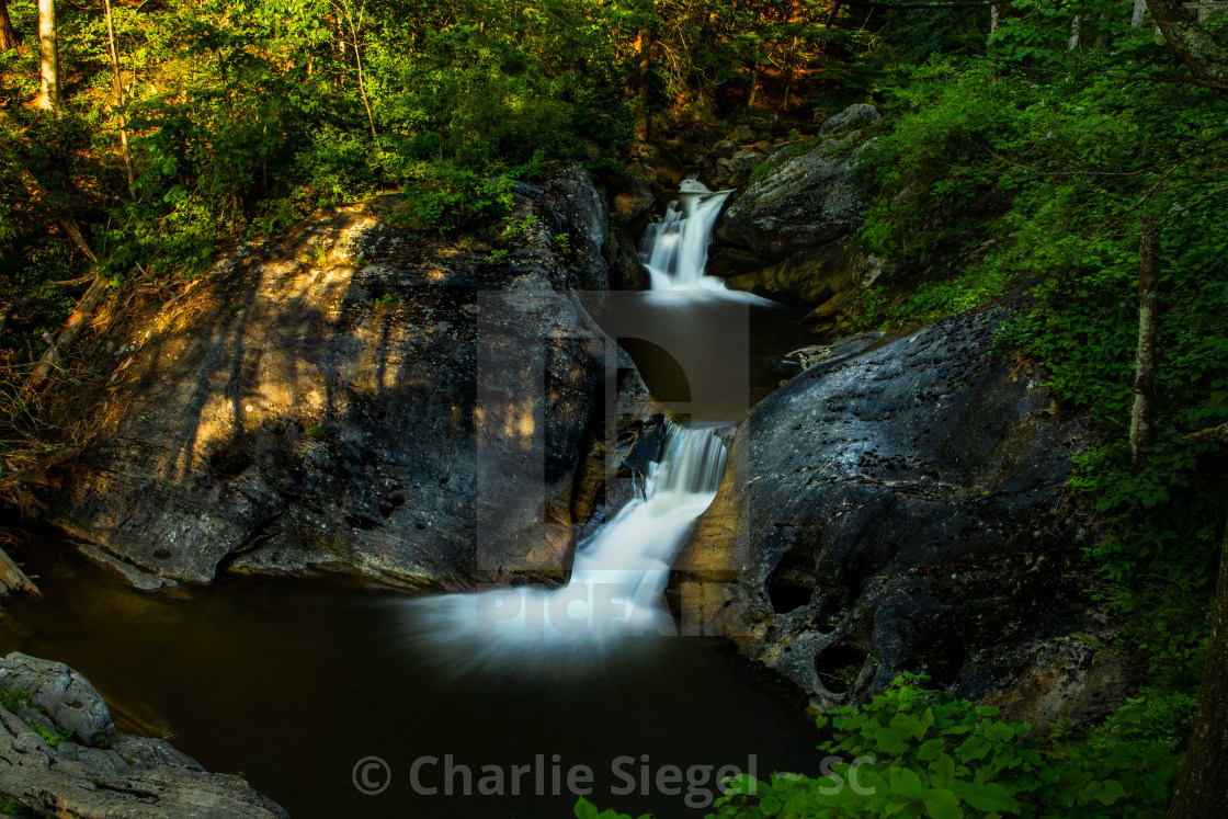 """""""Double Waterfall at an upper part of Kent Falls, CT, USA"""" stock image"""