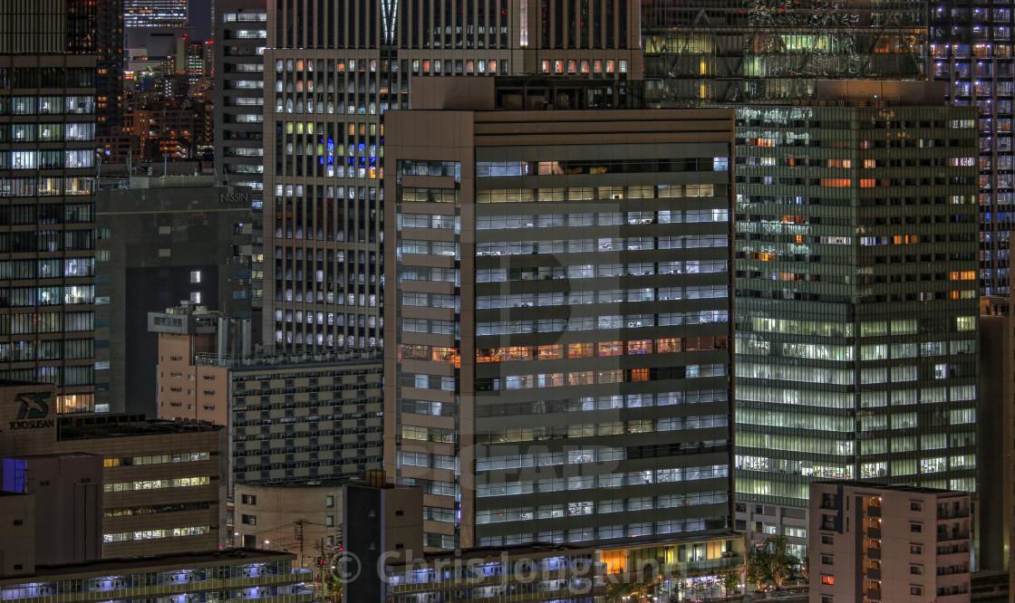 """Dense Urban Nighttime Cityscape"" stock image"